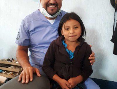 Happy child during her dental visit.